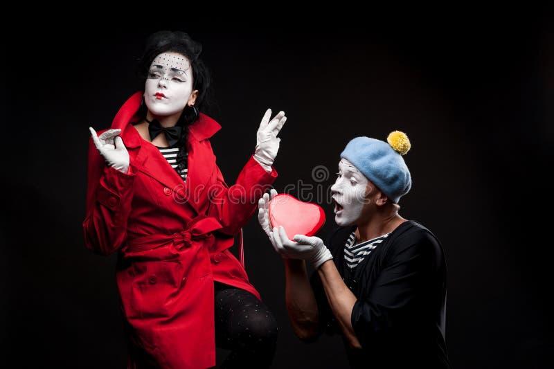 Pantomimen in der Liebe lizenzfreies stockfoto