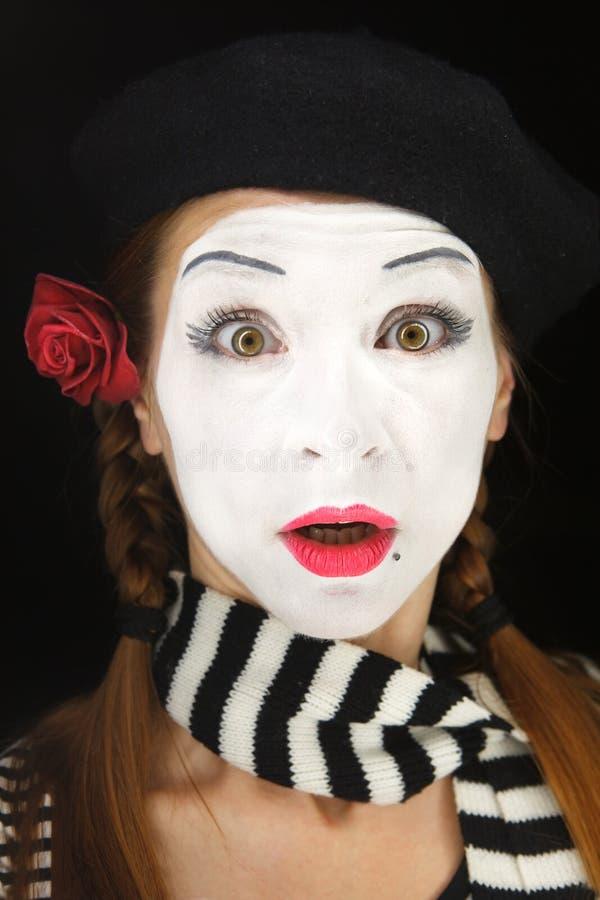 Pantomimeportrait mit überraschtem Gesichtsausdruck lizenzfreie stockfotos
