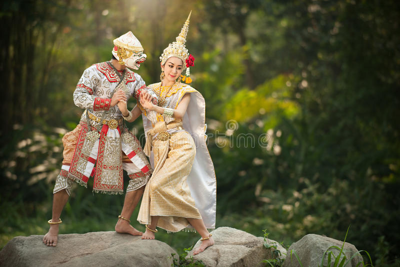 Pantomimeprestaties in Thailand stock foto