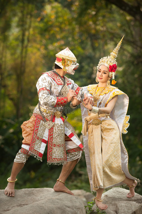 Pantomimeprestaties in Thailand stock afbeeldingen