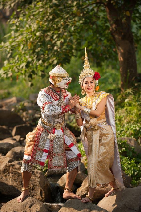 Pantomimeprestaties in Thailand stock foto's