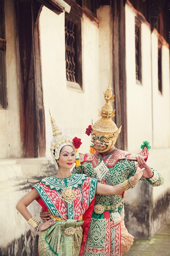 Pantomimeprestaties in Thailand stock fotografie