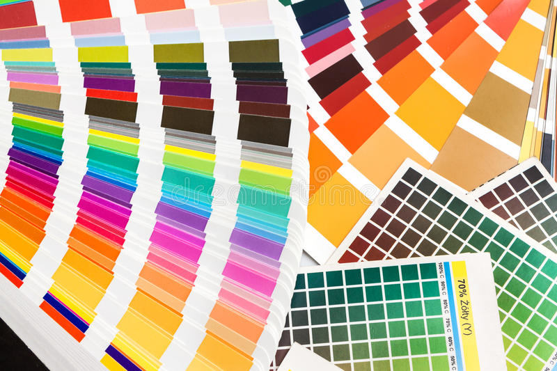 Pantone, cmyk, ral color swatches. Pantone, cmyk, ral sample colors catalogue. color swatches royalty free stock photo