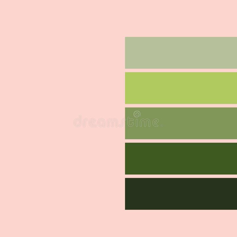 Pantone de couleur 2019 tons verts roses d'ime illustration de vecteur