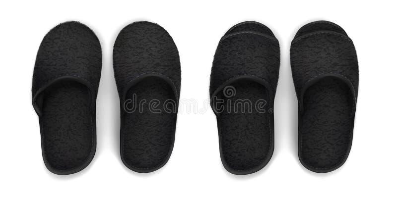 Pantoufles molles noires photographie stock