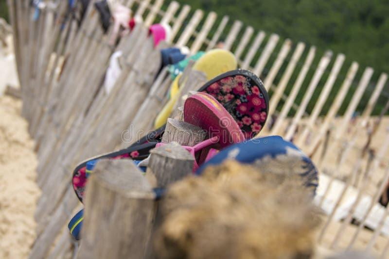 Pantoufles sur la plage photographie stock libre de droits