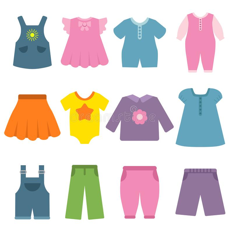 Pants, dresses and other different clothes for kids and babies. Vector clothing fashion for child, garment and apparel boy and girl illustration royalty free illustration