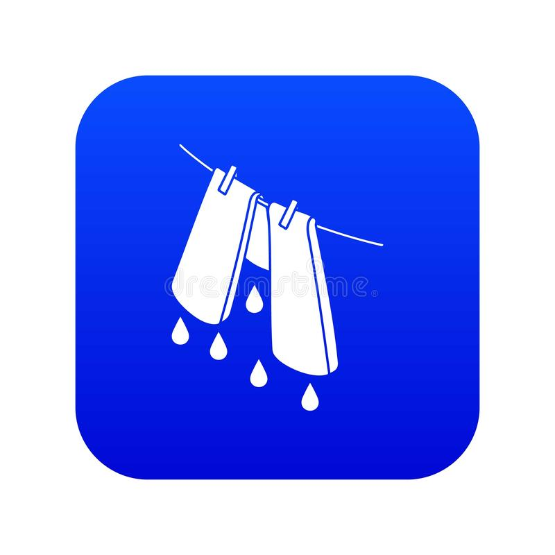 Pants drying icon blue vector. Isolated on white background royalty free illustration