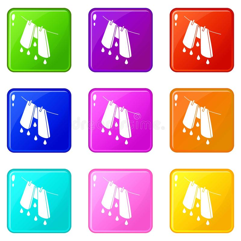 Pants drying icons set 9 color collection. Isolated on white for any design vector illustration