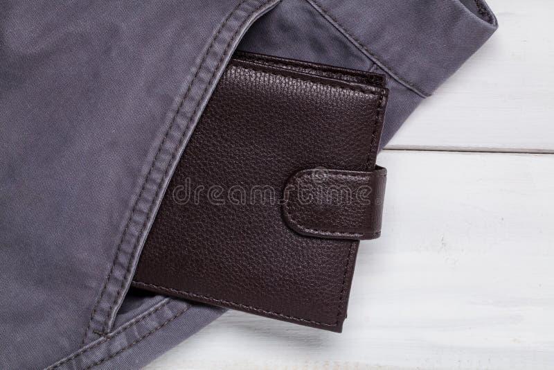 Pants pocket and wallet stock image