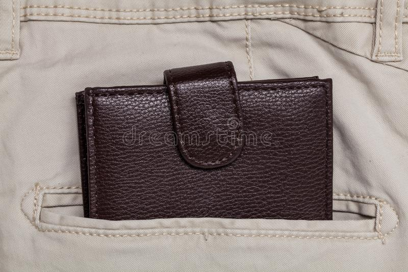 Pants pocket and wallet stock photo