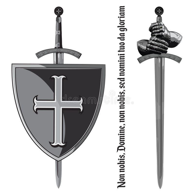 Pantserhandschoenen van de ridder, schild en het zwaard van de Kruisvaarder stock illustratie