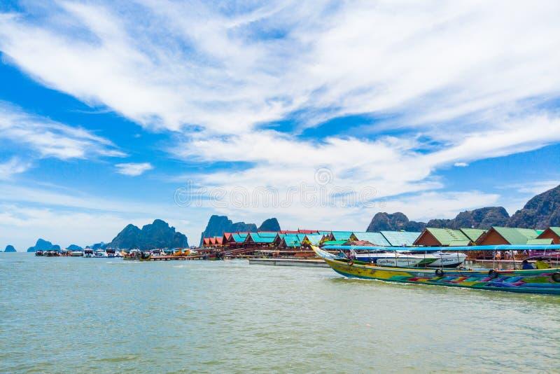 Panyi Island settlement built on stilts of Phang Nga Bay. stock photos