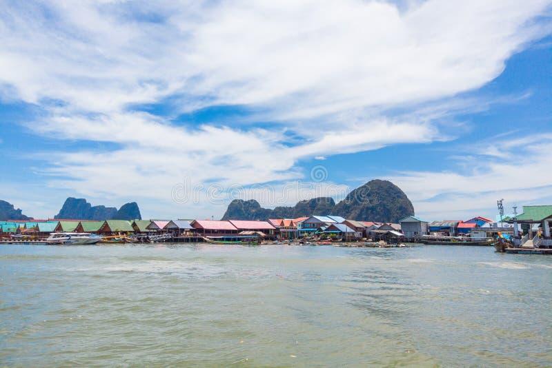 Panyi Island settlement built on stilts of Phang Nga Bay. stock photo