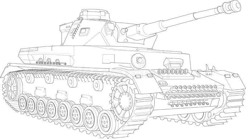 Panzer IV tankschets royalty-vrije stock foto