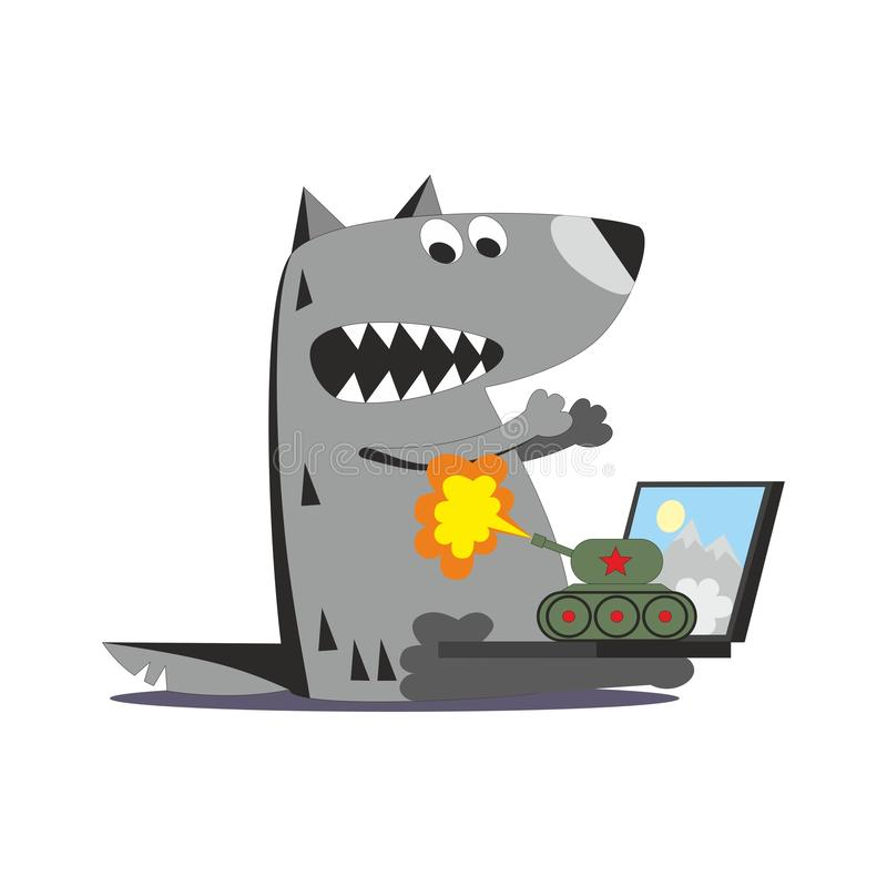 Panzer ostrzał na wilku 01 ilustracja wektor