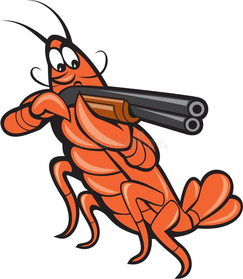 Panzerkrebs-Hummer, der Schrotflinten-Karikatur zielt vektor abbildung