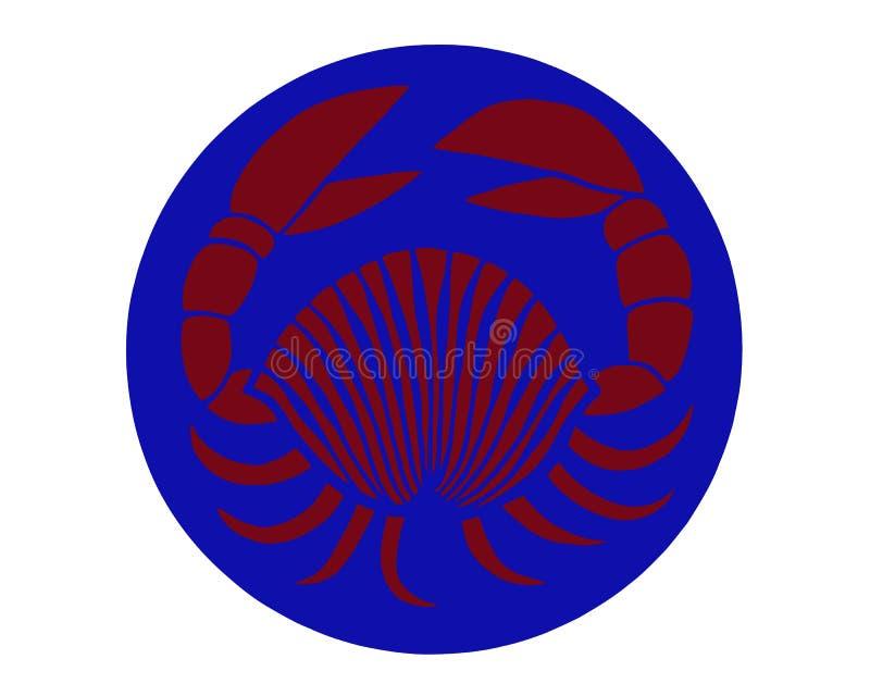 Panzerkrebse auf blauem Hintergrund Bunte Skizze von Panzerkrebsen Karikaturillustration von roten Panzerkrebsen stock abbildung