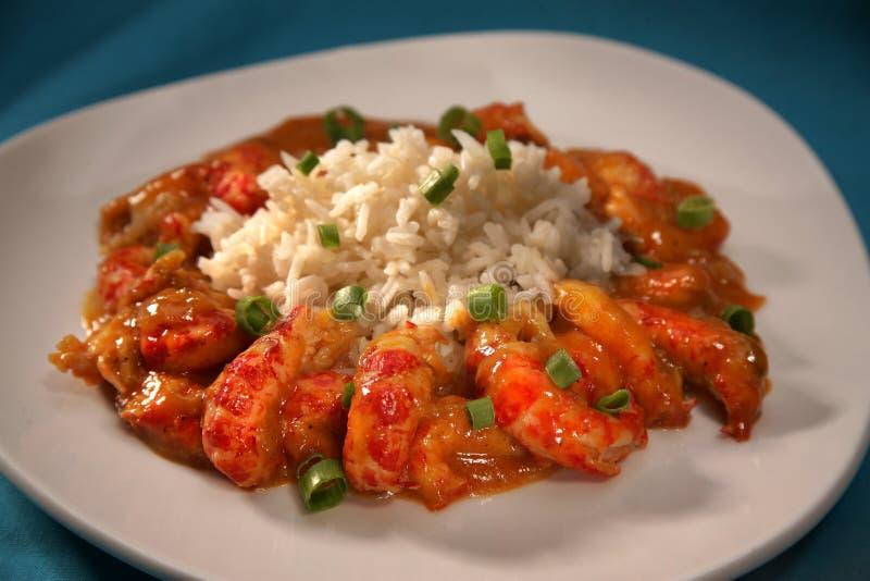 Panzerkrebse und Reis in New Orleans redet Soße an lizenzfreies stockbild