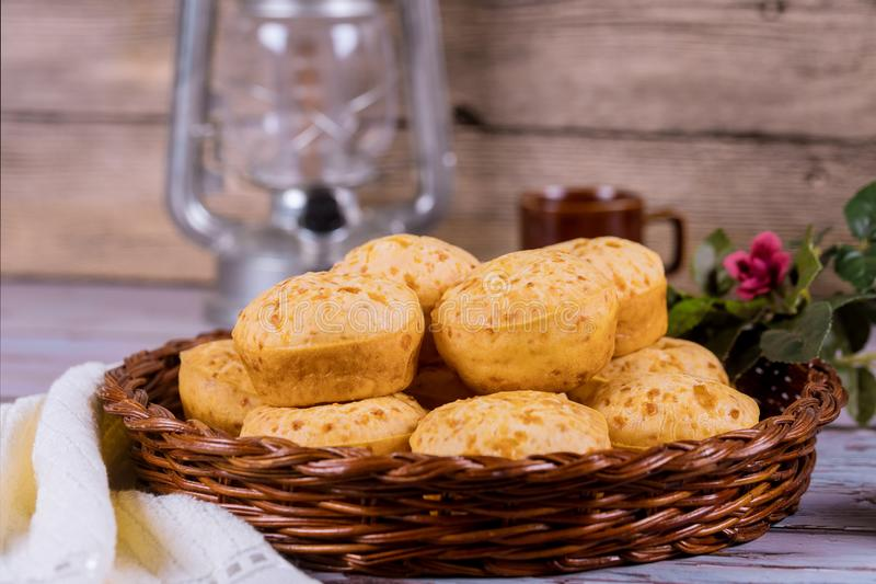 Pao de queijo, mineiro, cheese bread in basket royalty free stock images