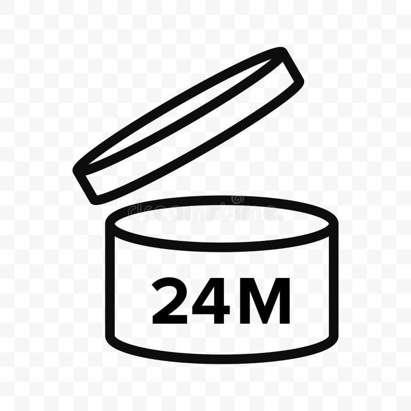 Pao 24m传染媒介象 化妆开放月生活架子,失效期间24个月PAO 向量例证