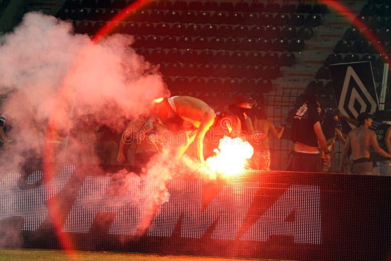 PAOK против быстрых бунтов футбольного матча стоковые изображения rf