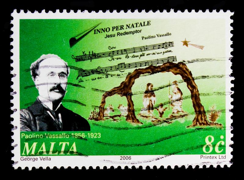 Paolino Vassallo `Inno per Natale` and Nativity, Christmas 2006 - Composers serie, circa 2006. MOSCOW, RUSSIA - OCTOBER 3, 2017: A stamp printed in Malta shows royalty free stock images