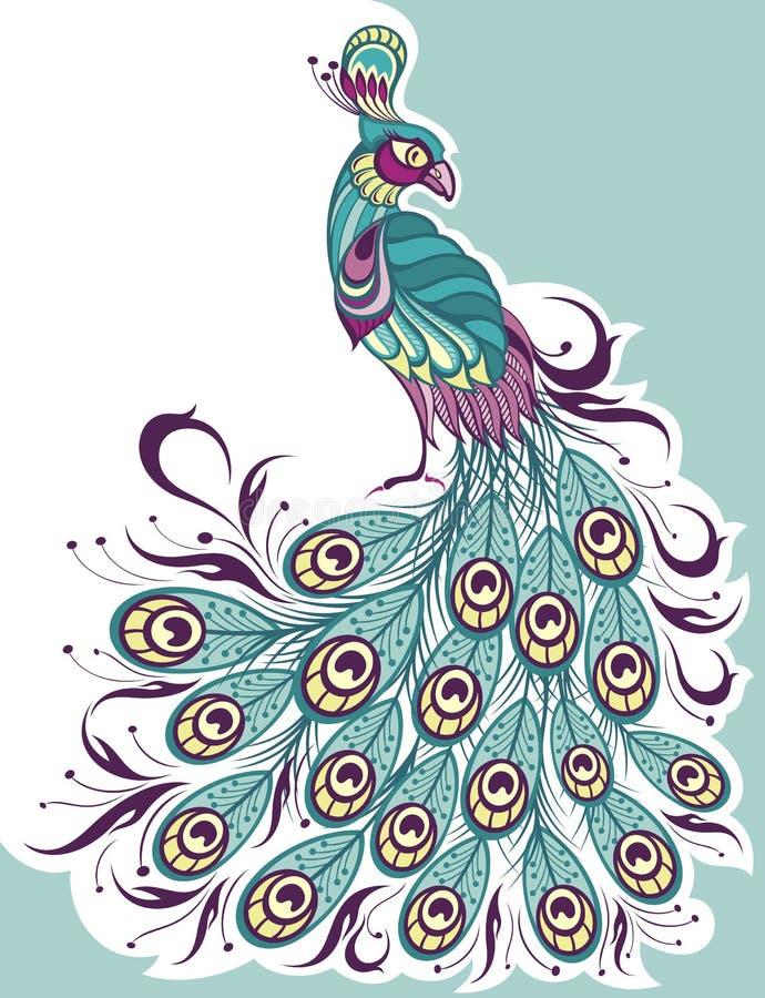 Paon, vecteur de croquis illustration animale de faune illustration stock