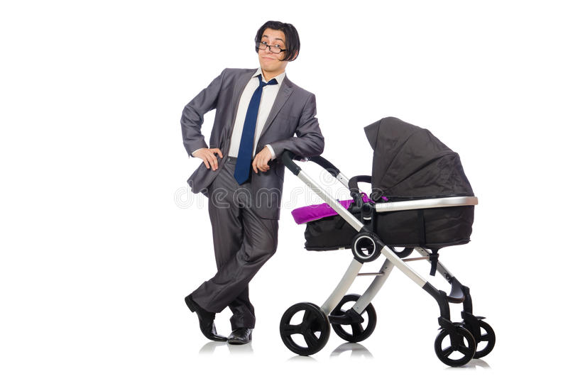 Papà divertente con il bambino e carrozzina su bianco fotografia stock libera da diritti