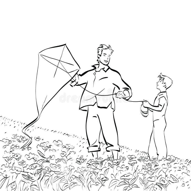 Papà e figlio che pilotano un aquilone illustrazione di stock