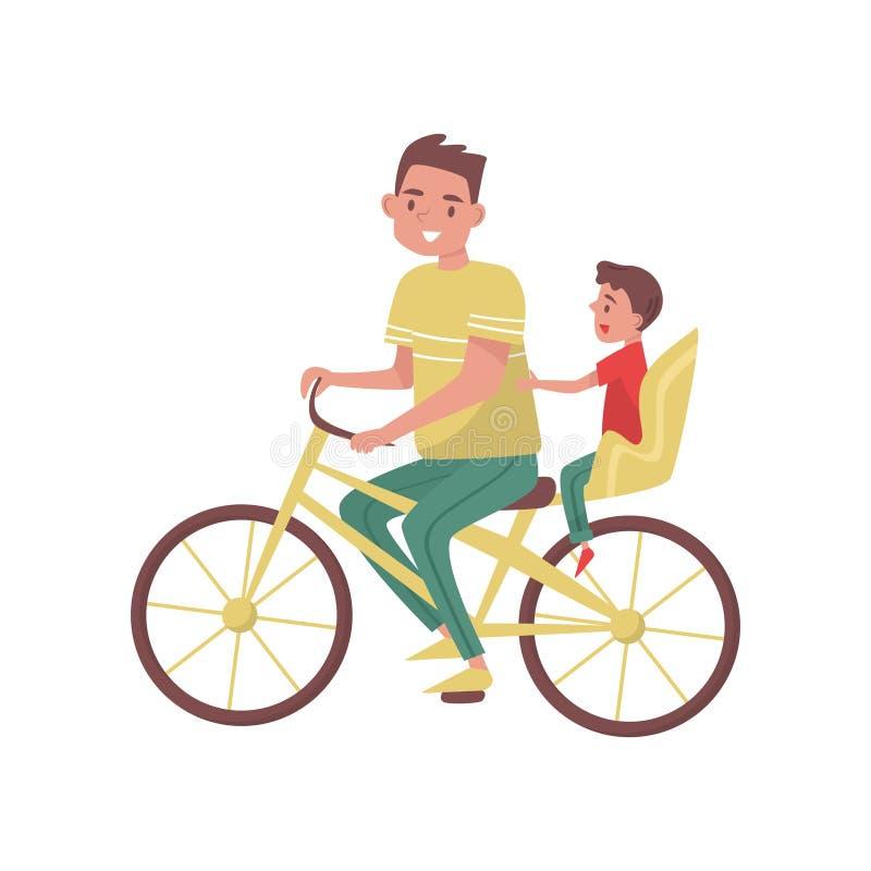 Papá con el montar a caballo del niño pequeño en la bicicleta Familia feliz Padre que pasa tiempo con su hijo Actividad al aire l stock de ilustración