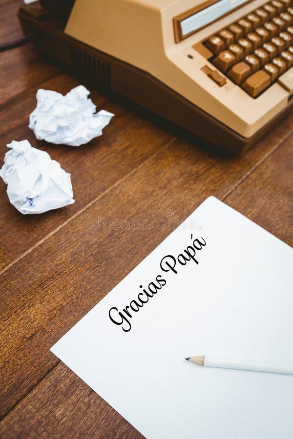 Papá de Gracias escrita no papel foto de stock royalty free