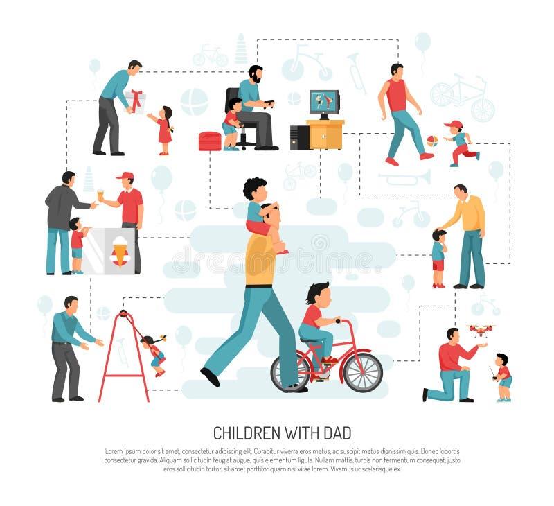Papá de los niños Parenting Infographics stock de ilustración