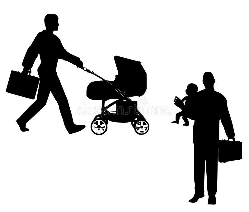 Papá de trabajo con el bebé ilustración del vector
