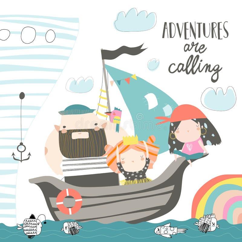 Papá lindo y niños que navegan en su nave ilustración del vector