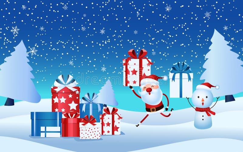 Papá Noel alegre, muñeco de nieve que sostiene la caja de regalo Regalos de Navidad en escena de la nieve Feliz Navidad y Feliz A libre illustration