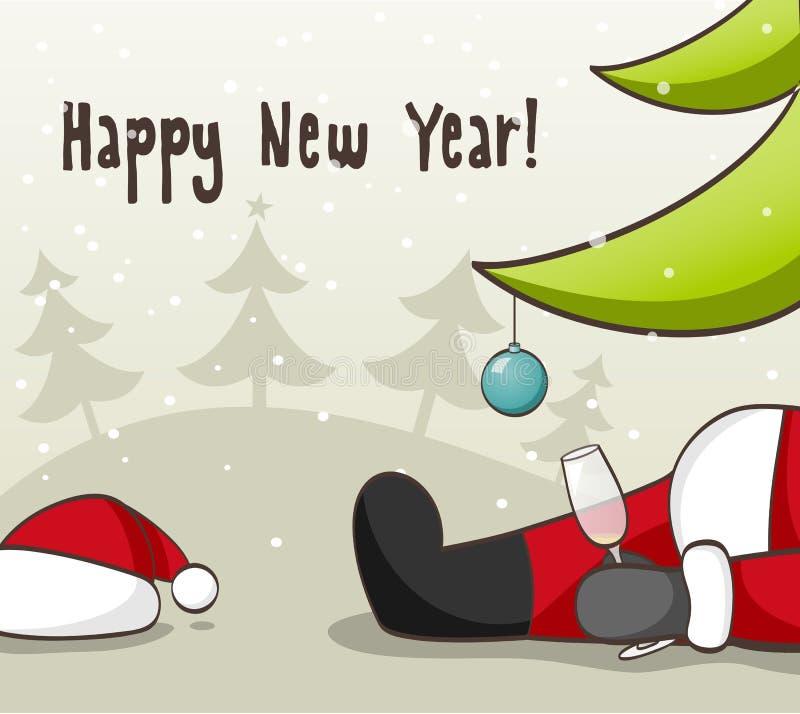 Papá Noel borracho stock de ilustración