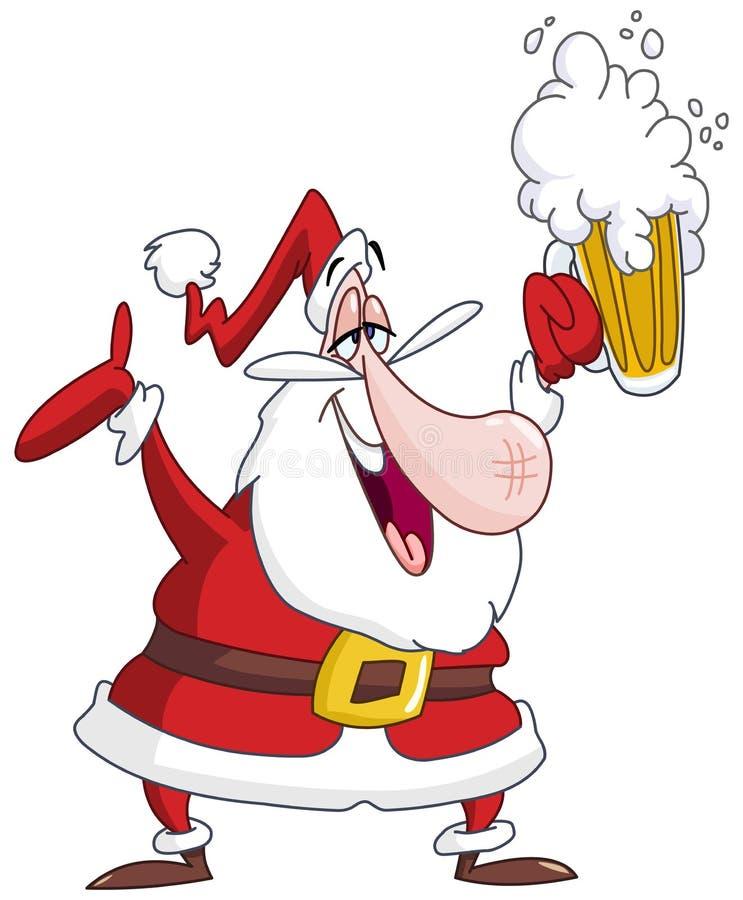 Papá Noel borracho ilustración del vector