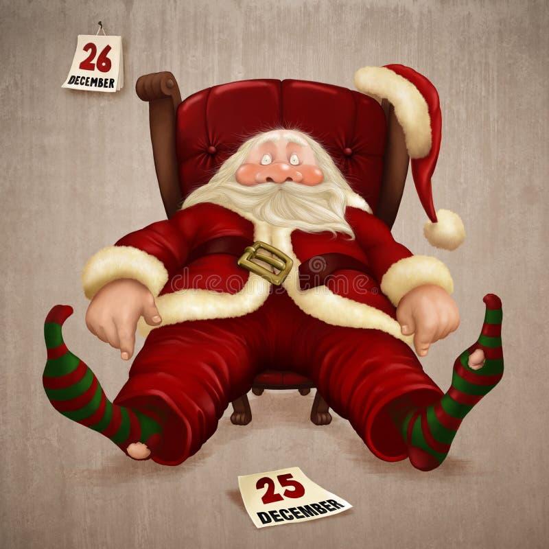Papá Noel cansado ilustración del vector