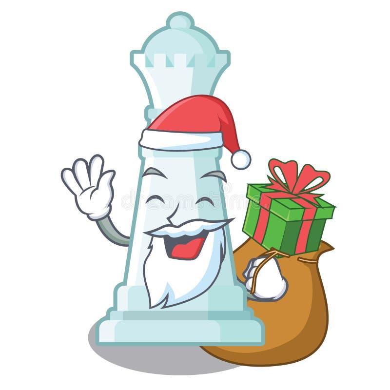Papá Noel con ajedrez de la reina del regalo en una silla de la historieta libre illustration