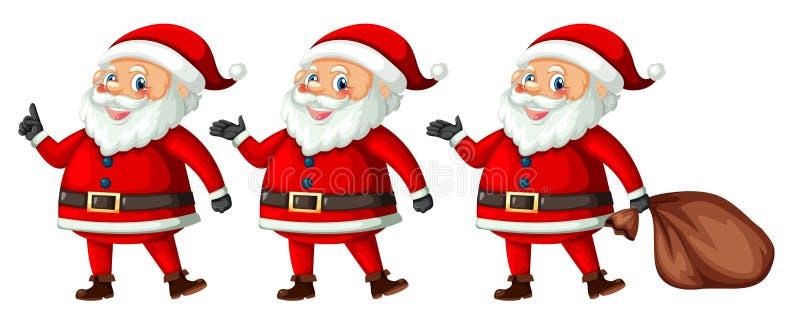 Papá Noel con diversa acción stock de ilustración