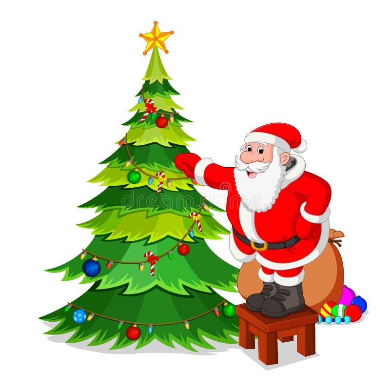 Papá Noel con el árbol de navidad ilustración del vector