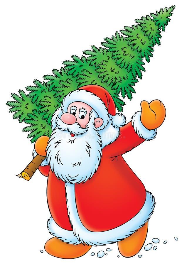 Papá Noel con el árbol de navidad stock de ilustración