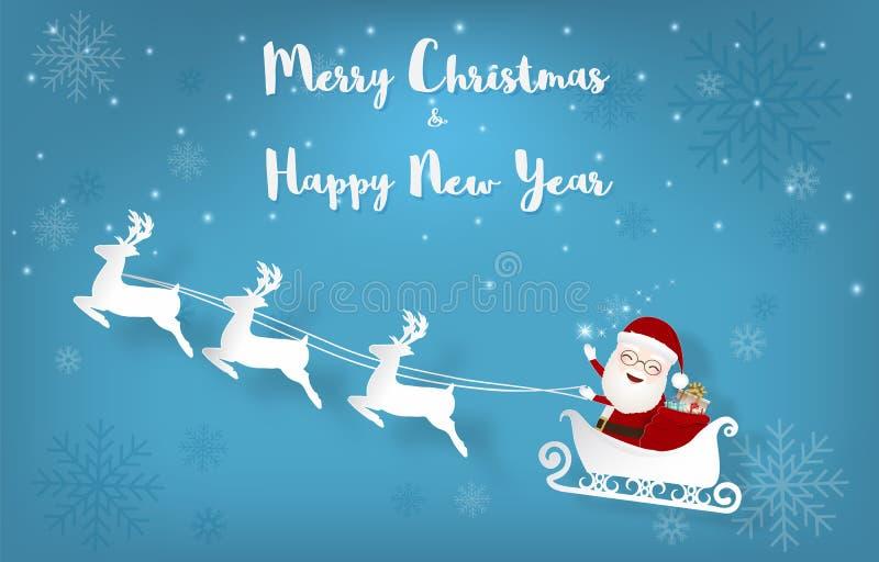 Papá Noel con el arte de la Navidad del trineo y del copo de nieve y del documento de información del Año Nuevo stock de ilustración