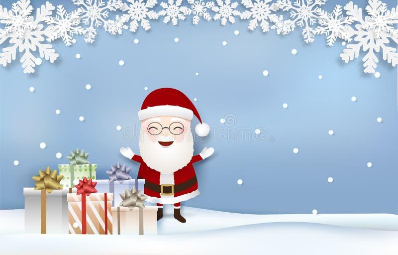 Papá Noel con el arte del papel de la estación de la Navidad de las cajas del copo de nieve y de regalo, estilo cortado de papel libre illustration