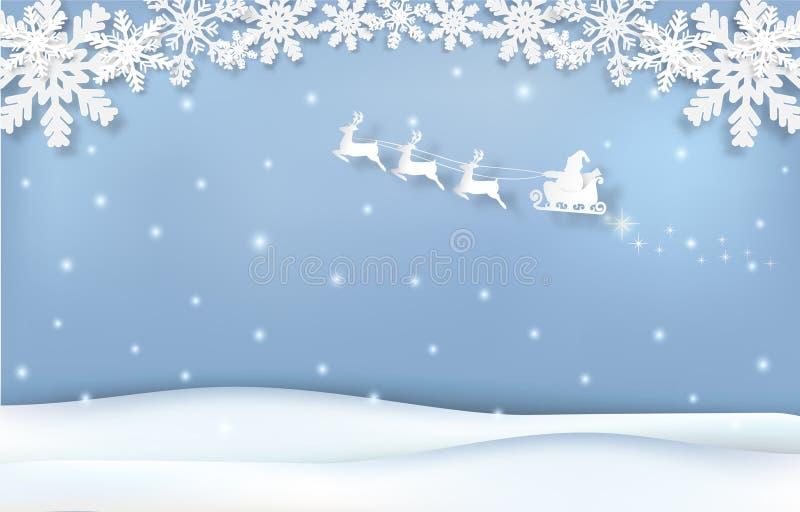 Papá Noel con el arte del papel de la estación de la Navidad del trineo y del copo de nieve, ejemplo cortado de papel del estilo ilustración del vector