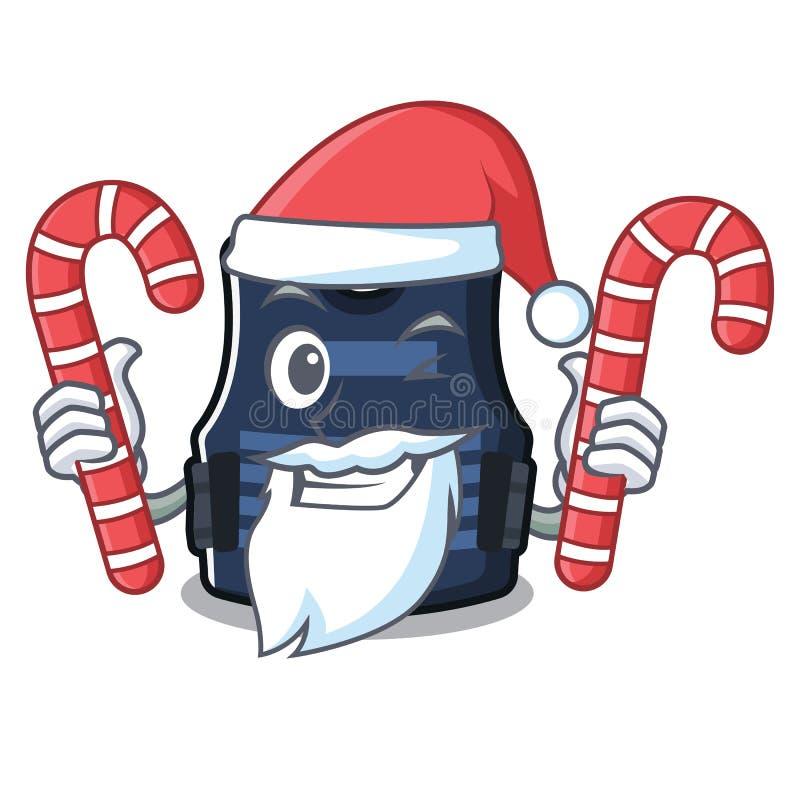 Papá Noel con el chaleco del bulletprof del caramelo almacenado en armario de la historieta ilustración del vector