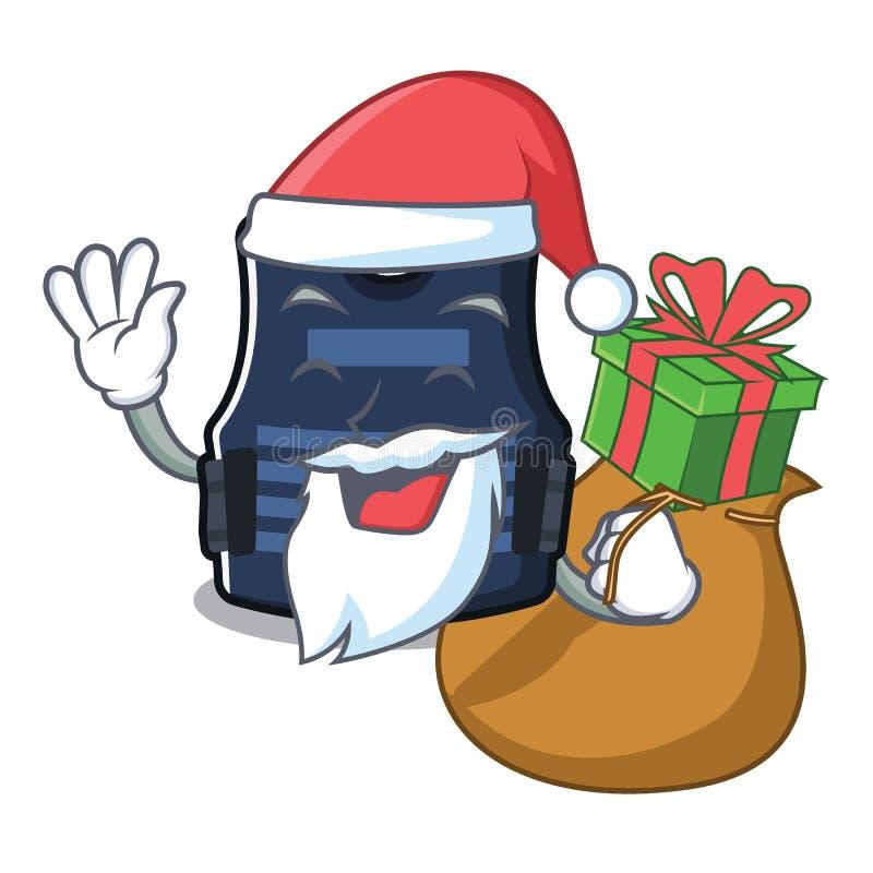 Papá Noel con el chaleco del bulletprof del regalo almacenado en armario de la historieta libre illustration