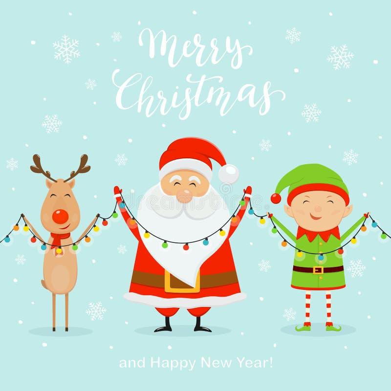 Papá Noel con el duende feliz y los ciervos que llevan a cabo la luz de la Navidad en vagos azules stock de ilustración