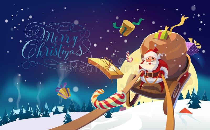Papá Noel con el manojo de presentes que montan en un trineo en las luces polares del bosque del invierno en el fondo Aldea del i ilustración del vector